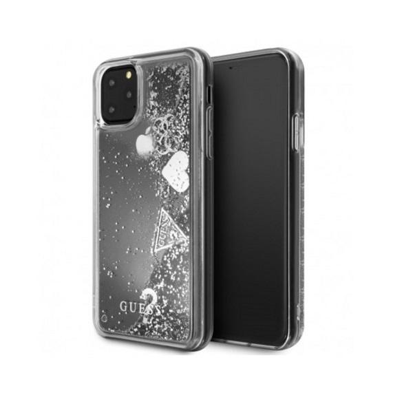 GUESS iPhone 11 Pro Max csillámos folyadékos szíves ezüst kemény tok - 5