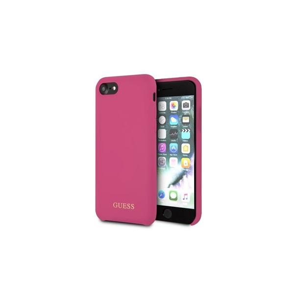 Guess iPhone 8 arany logóval szilikon pink tok - 2