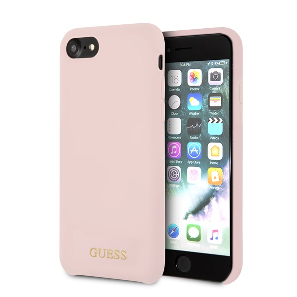 Guess iPhone 8 arany logóval szilikon világos pink tok - 2