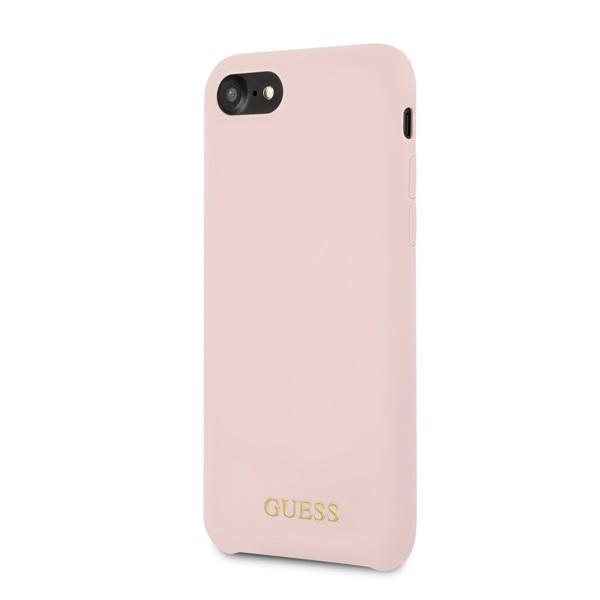 Guess iPhone 8 arany logóval szilikon világos pink tok - 3