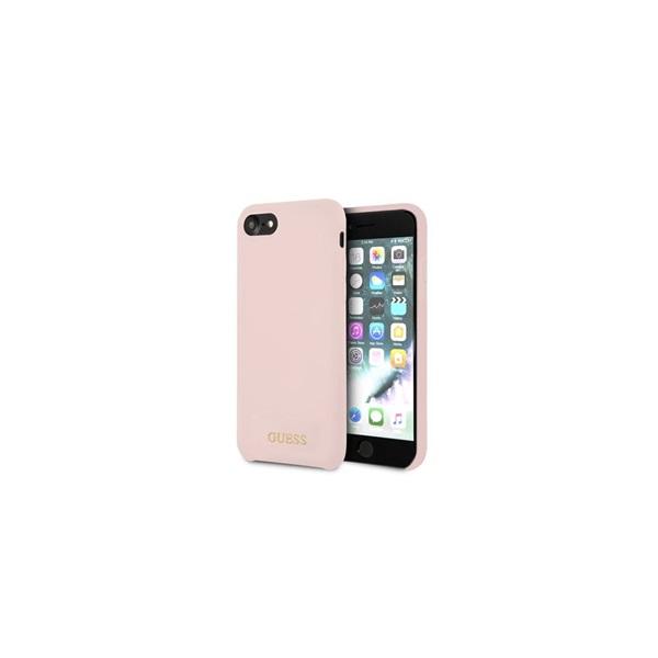Guess iPhone 8 arany logóval szilikon világos pink tok - 4