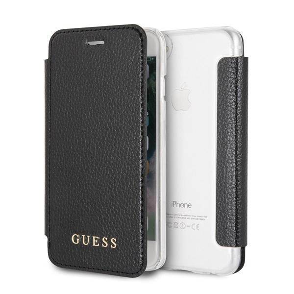Guess iPhone 8 színváltó kihajtható műbőr fekete tok - 1
