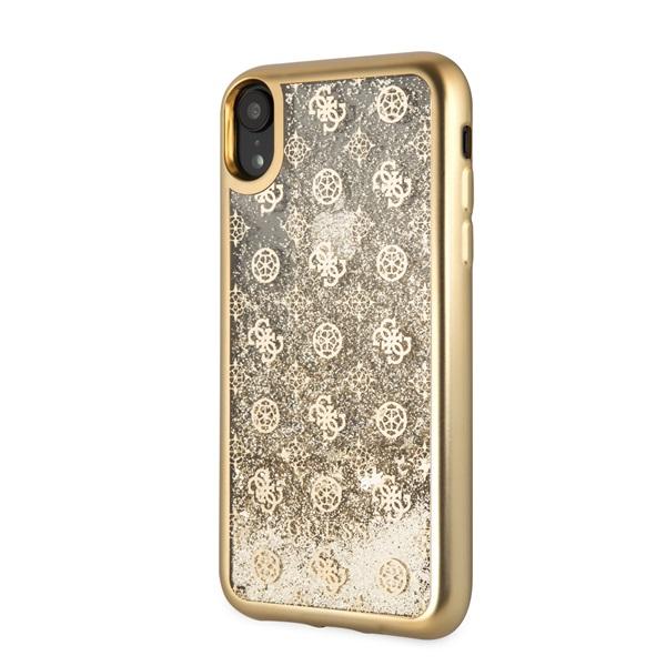 Guess iPhone XR rózsa mintás csillám folyadékkal arany tok - 1