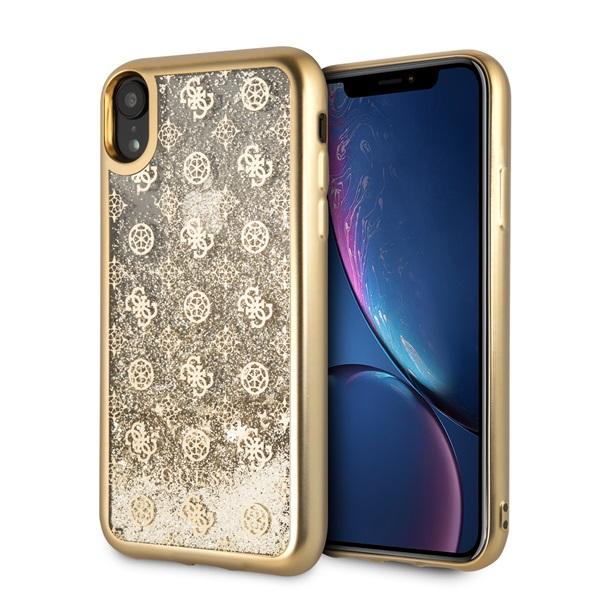 Guess iPhone XR rózsa mintás csillám folyadékkal arany tok - 2