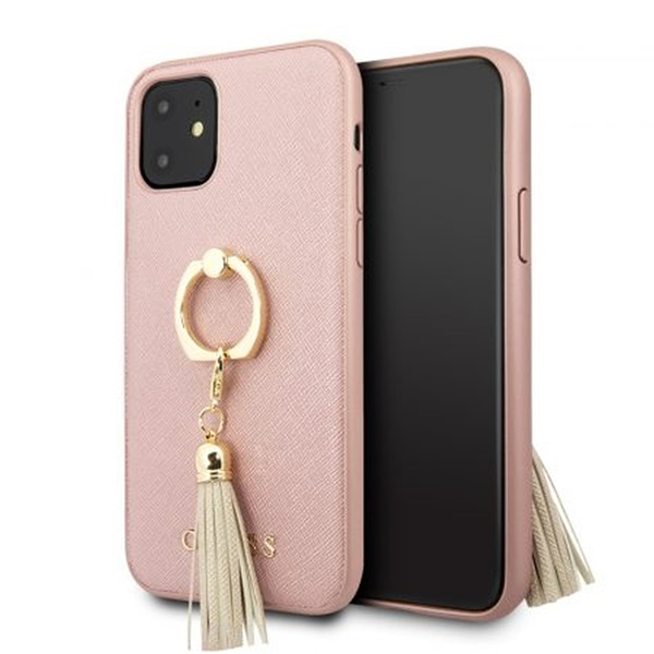 GUESS Saffiano iPhone 11 gyűrűs kitámasztóval rózsaszín kemény tok - 1