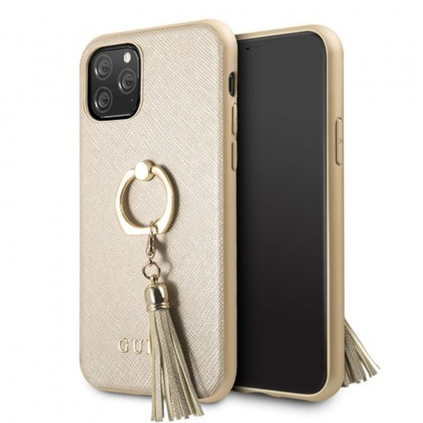 GUESS Saffiano iPhone 11 Pro gyűrűs kitámasztóval bézs kemény tok - 1