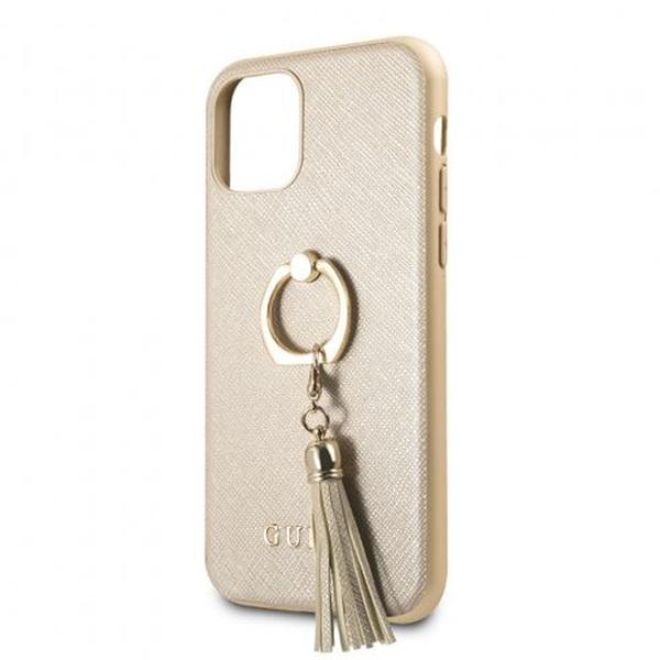 GUESS Saffiano iPhone 11 Pro gyűrűs kitámasztóval bézs kemény tok - 2
