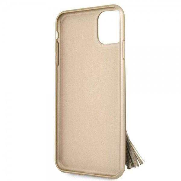 GUESS Saffiano iPhone 11 Pro gyűrűs kitámasztóval bézs kemény tok - 3