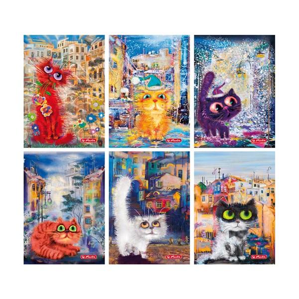 Herlitz Crazy Cats PP A5 60lapos vonalas füzet - 1