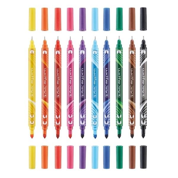 Herlitz my.pen kétvégű 10db-os vegyes színű filctoll készlet - 2