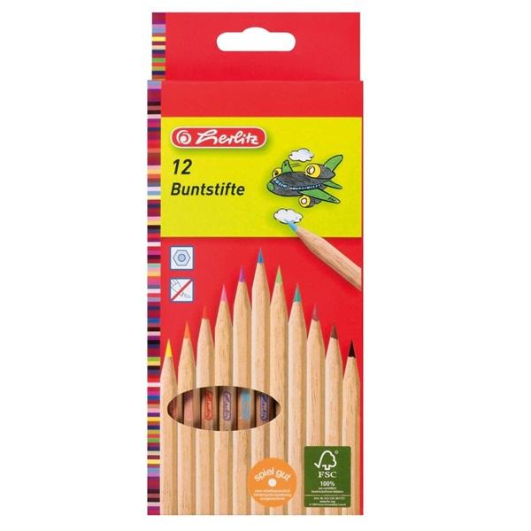 Herlitz natúrfa 12db-os vegyes színű színes ceruza - 1