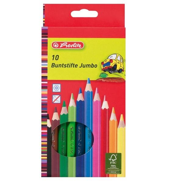 Herlitz vastag lakkozott 10db-os vegyes színű színes ceruza - 1