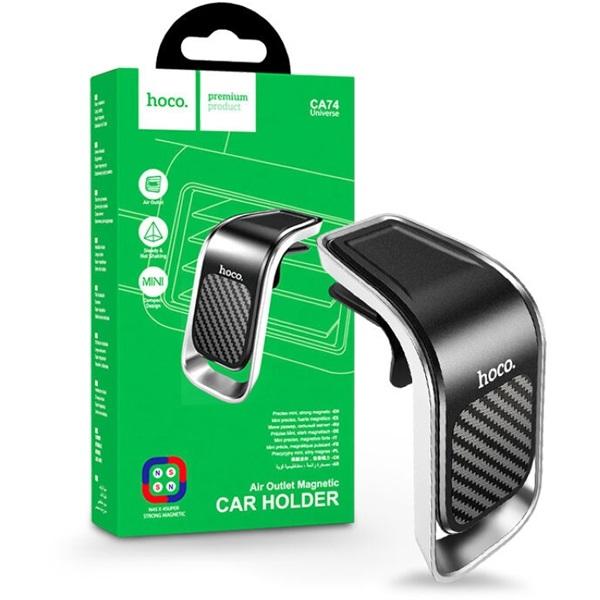 Hoco HOC0159 CA74 univerzális fekete-ezüst szellőzőrácsba illeszthető mágneses autós telefon tartó - 1