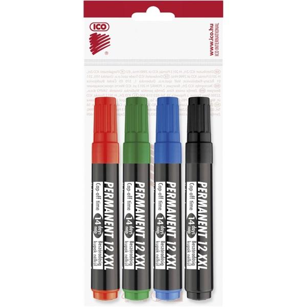 ICO Permanent 12 XXL 4db színes marker - 1