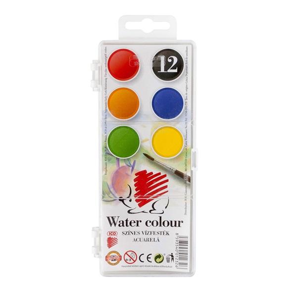 Ico Süni 22,5mm 12 féle színű vízfesték készlet - 1