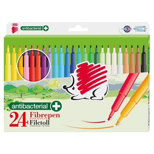 ICO Süni 300 antibakteriális 24db-os vegyes színű d24 rostirón készlet - 1