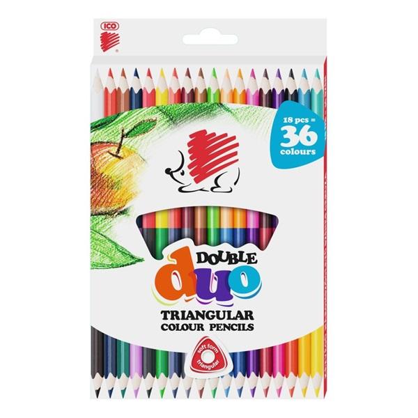 ICO Süni háromszög alakú kétvégű 36db-os vegyes színű színes ceruza - 1