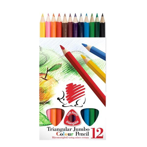ICO Süni Jumbo háromszög alakú festett 12db-os vegyes színű színes ceruza - 1