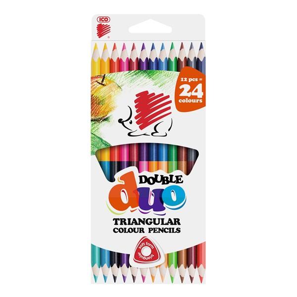ICO Süni kétvégű háromszög alakú 12/24db-os vegyes színű színes ceruza - 1
