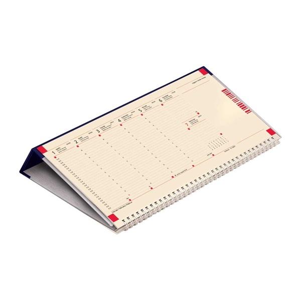 Kalendart 2021-es C050 jegyzettömbös fekvő kék sárga papíros asztali naptár - 1