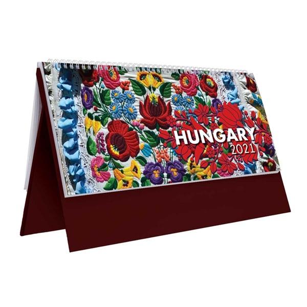 Kalendart 2021-es T054 Hungary álló bordó asztali naptár - 1