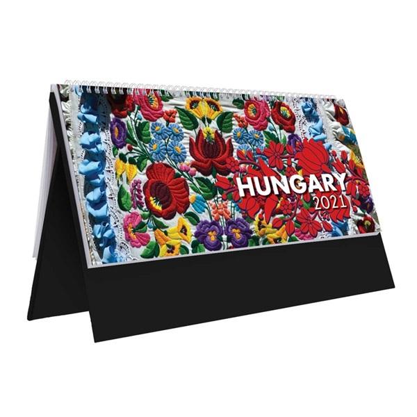 Kalendart 2021-es T054 Hungary álló fekete asztali naptár - 1