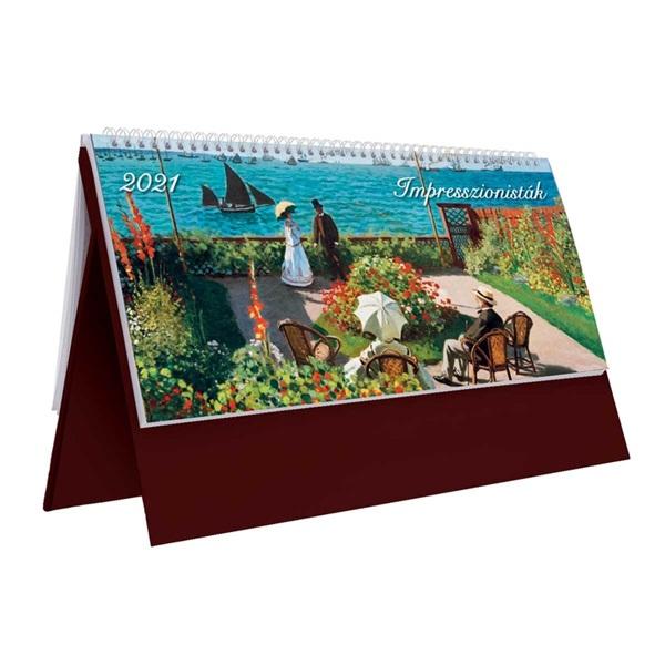Kalendart 2021-es T054 impresszion álló bordó asztali naptár - 1