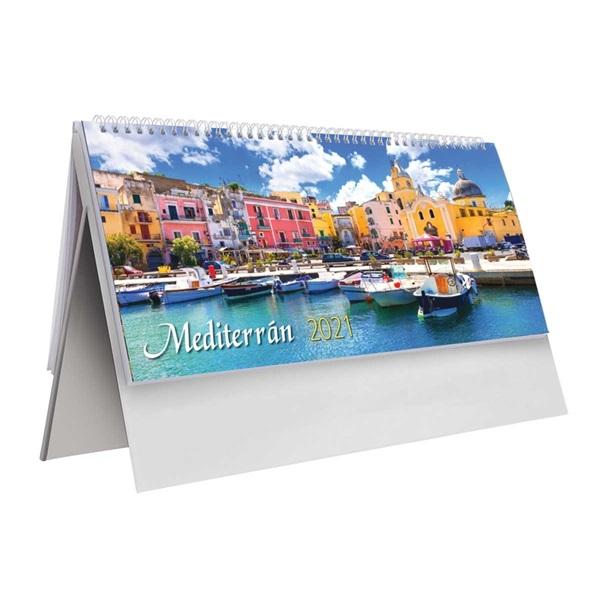 Kalendart 2021-es T054 Mediterrán álló fehér asztali naptár - 1