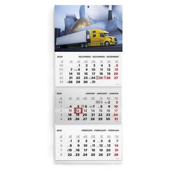 Kalendart 2021-es T074 3 tömb kamion mintás speditőrnaptár - 1