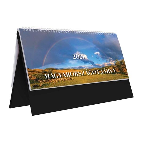 Kalendart 2021-es TopTimer T056 Magyarország járva álló fekete asztali naptár - 1
