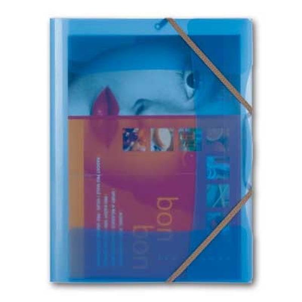 Karton P+P Opaline A4 pólyás áttetsző kék gumis mappa - 1
