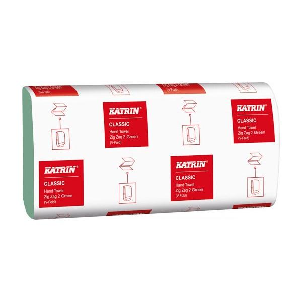 Katrin Classic 150 lap/csomag 2 rétegű Z hajtogatású zöld kéztörlő - 1