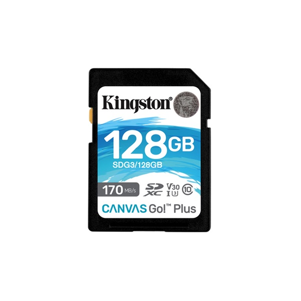 Kingston 128GB SD Canvas Go Plus (SDXC Class 10 UHS-I U3) (SDG3/128GB) memória kártya - 1