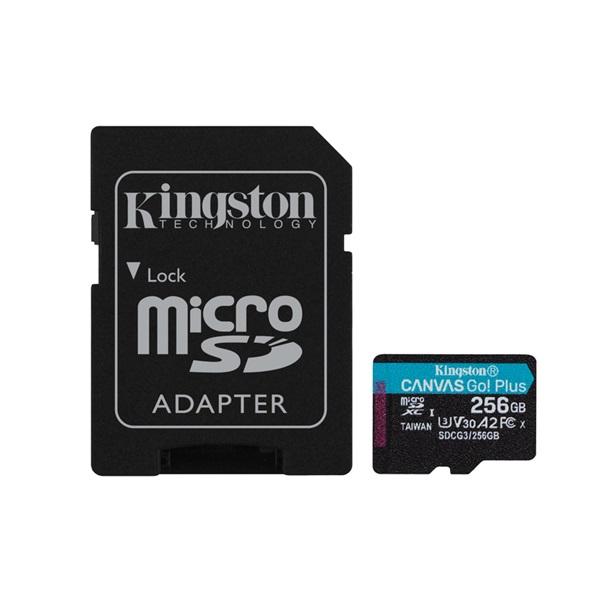 Kingston 256GB SD micro Canvas Go! Plus (SDXC Class 10 UHS-I U3) (SDCG3/256GB) memória kártya adapterrel - 1