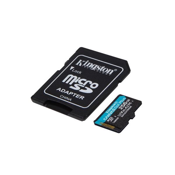 Kingston 256GB SD micro Canvas Go! Plus (SDXC Class 10 UHS-I U3) (SDCG3/256GB) memória kártya adapterrel - 2