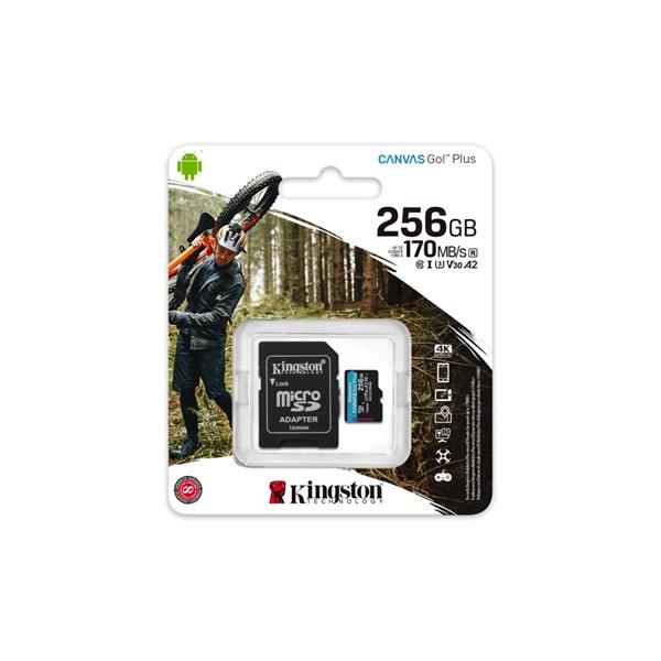 Kingston 256GB SD micro Canvas Go! Plus (SDXC Class 10 UHS-I U3) (SDCG3/256GB) memória kártya adapterrel - 3