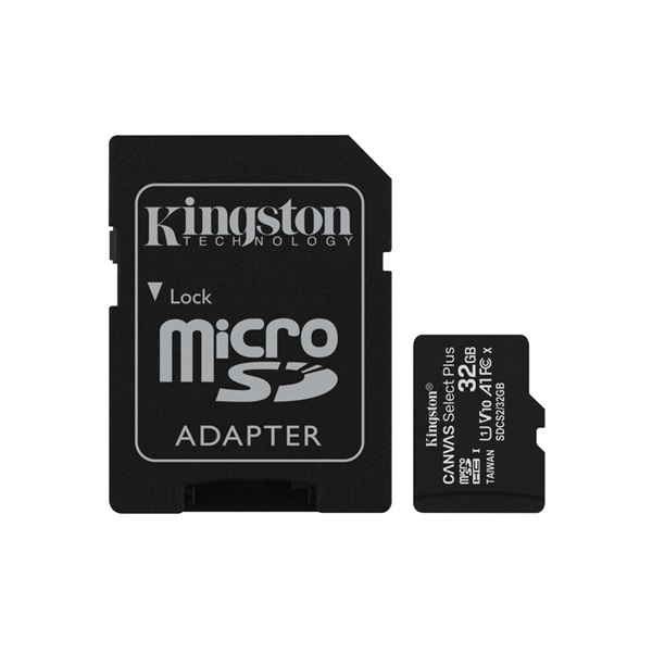 Kingston 32GB SD micro Canvas Select Plus (SDHC Class 10 A1) (SDCS2/32GB) memória kártya adapterrel - 1