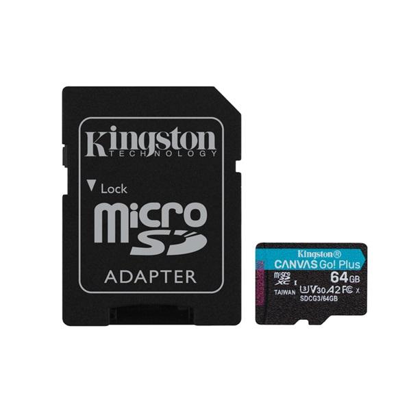 Kingston 64GB SD micro Canvas Go! Plus (SDXC Class 10  UHS-I U3) (SDCG3/64GB) memória kártya adapterrel - 1