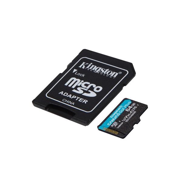 Kingston 64GB SD micro Canvas Go! Plus (SDXC Class 10  UHS-I U3) (SDCG3/64GB) memória kártya adapterrel - 2