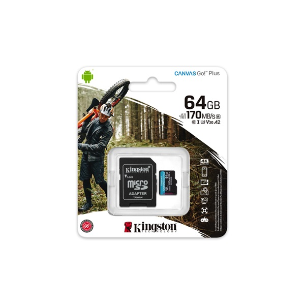 Kingston 64GB SD micro Canvas Go! Plus (SDXC Class 10  UHS-I U3) (SDCG3/64GB) memória kártya adapterrel - 3