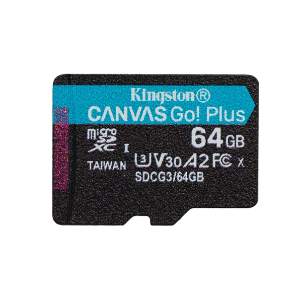 Kingston 64GB SD micro Canvas Go! Plus (SDXC Class 10  UHS-I U3) (SDCG3/64GBSP) memória kártya - 1