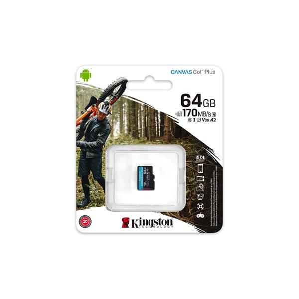 Kingston 64GB SD micro Canvas Go! Plus (SDXC Class 10  UHS-I U3) (SDCG3/64GBSP) memória kártya - 3