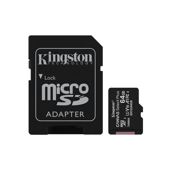 Kingston 64GB SD micro Canvas Select Plus (SDXC Class 10 A1) (SDCS2/64GB) memória kártya adapterrel - 1