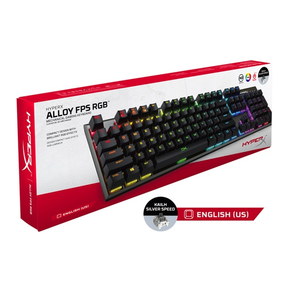 Kingston HyperX Alloy FPS (Kailh Silver Speed) US RGB világító mechanikus gamer billentyűzet - 5