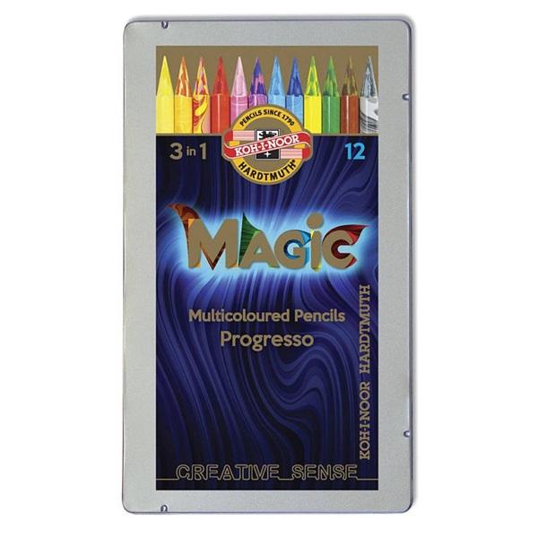 Koh-I-Noor 8772 Progresso Magic henger alakú 12db-os vegyes színű színes ceruza - 2