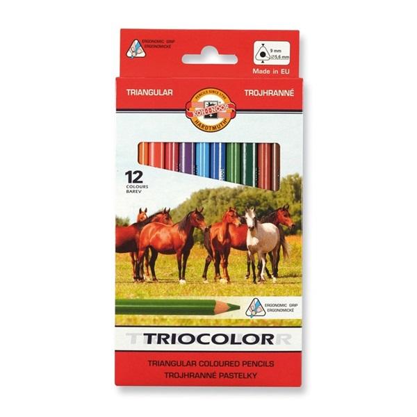 Koh-I-Noor Triocolor háromszög alakú vastag 12db-os vegyes színű színes ceruza - 1