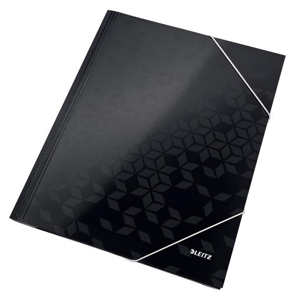 Leitz Wow karton fekete gumis mappa - 1