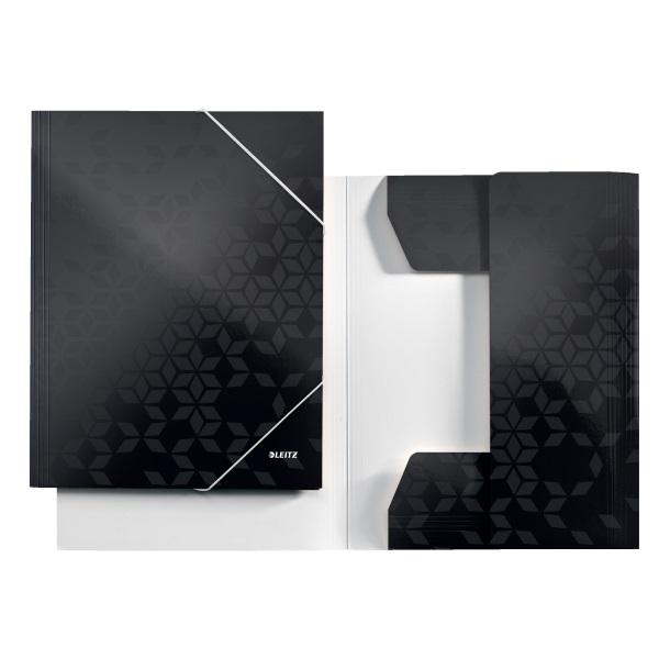 Leitz Wow karton fekete gumis mappa - 3