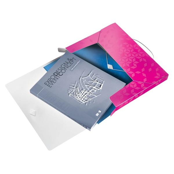 Leitz Wow polipropilén rózsaszín gumis mappa - 3