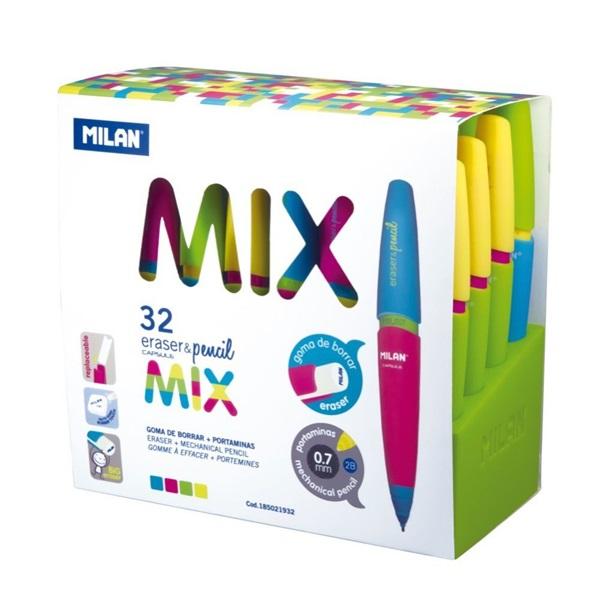 Milan Capsule Mix 0,7mm nyomósirón + beépített radír - 2